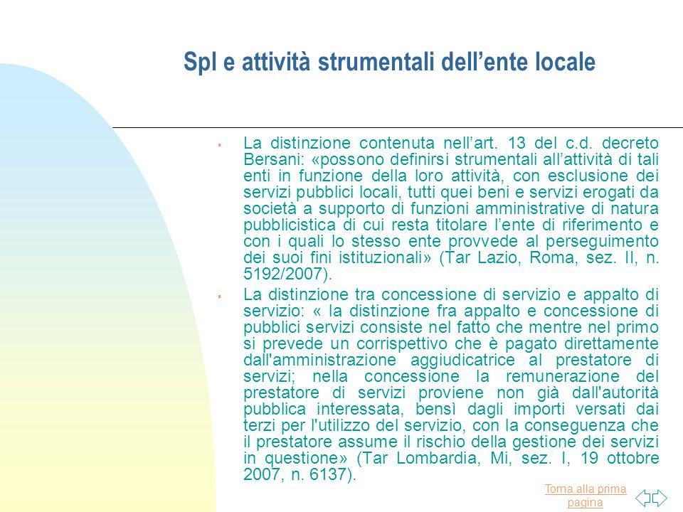 Spl e attività strumentali dell'ente locale
