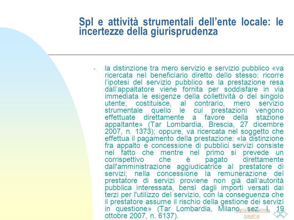 Spl e attività strumentali dell'ente locale: le incertezze della giurisprudenza
