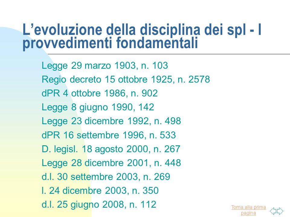 L'evoluzione della disciplina dei spl - I provvedimenti fondamentali