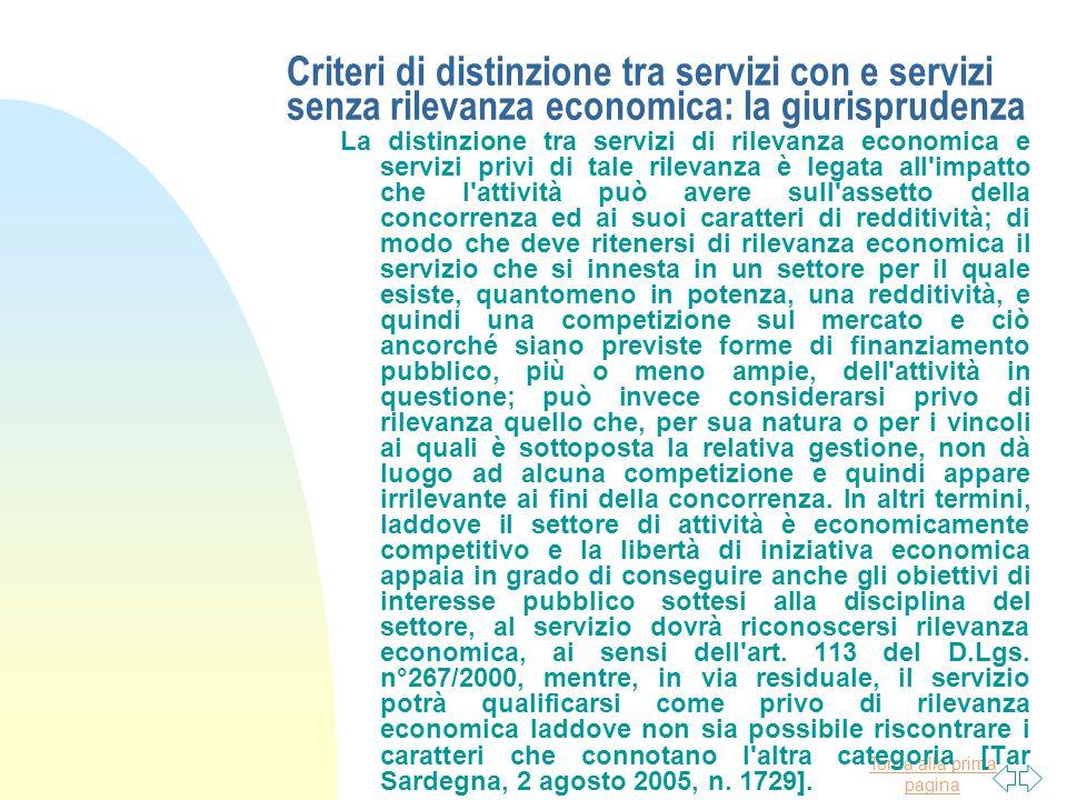 Criteri di distinzione tra servizi con e servizi senza rilevanza economica: la giurisprudenza