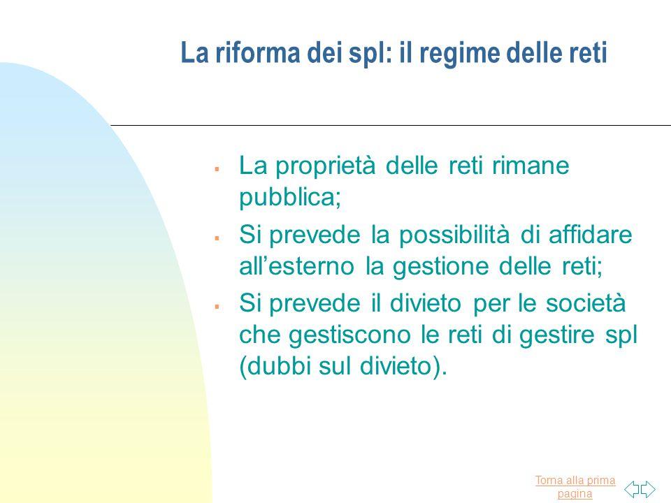 La riforma dei spl: il regime delle reti