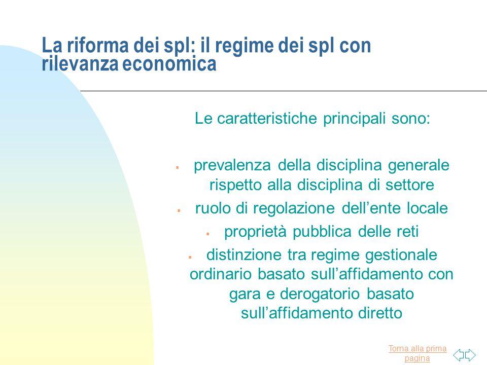 La riforma dei spl: il regime dei spl con rilevanza economica