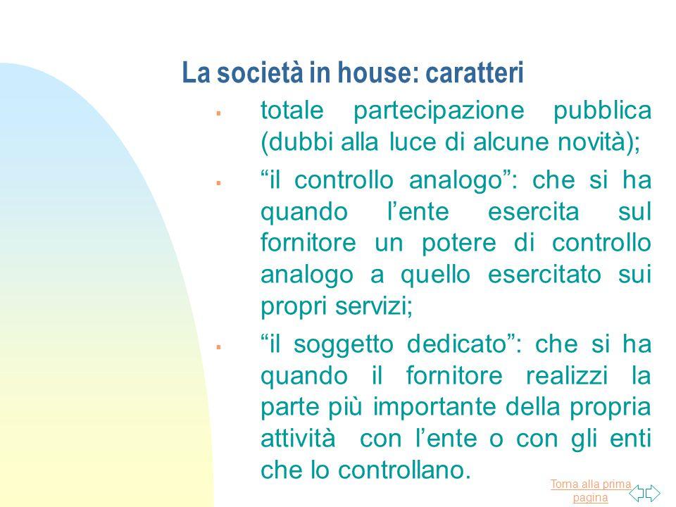 La società in house: caratteri