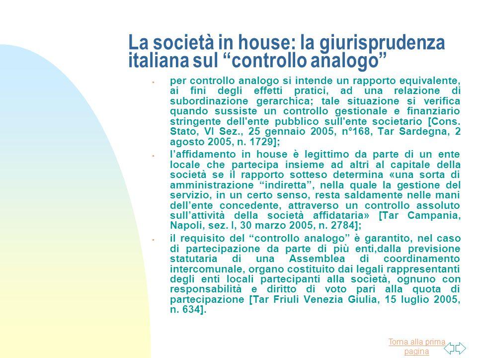 La società in house: la giurisprudenza italiana sul controllo analogo