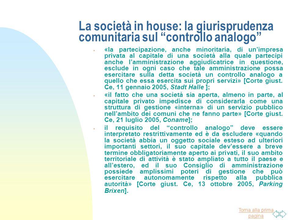 La società in house: la giurisprudenza comunitaria sul controllo analogo