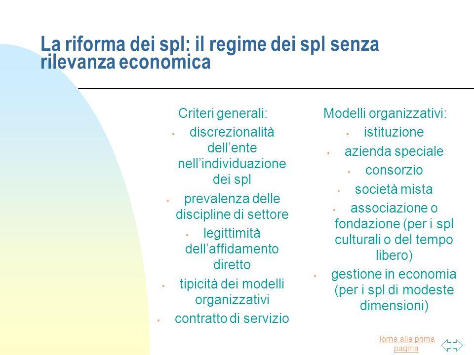 La riforma dei spl: il regime dei spl senza rilevanza economica