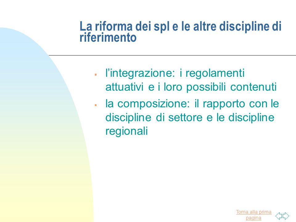 La riforma dei spl e le altre discipline di riferimento