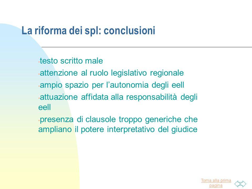 La riforma dei spl: conclusioni