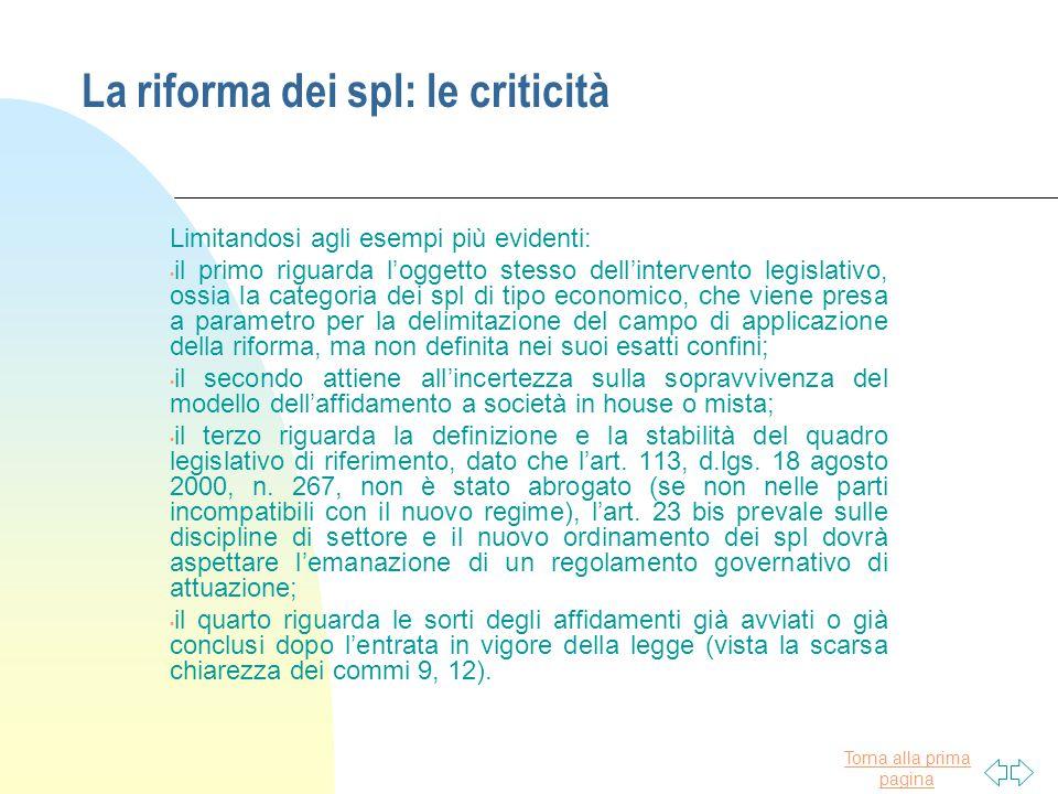 La riforma dei spl: le criticità
