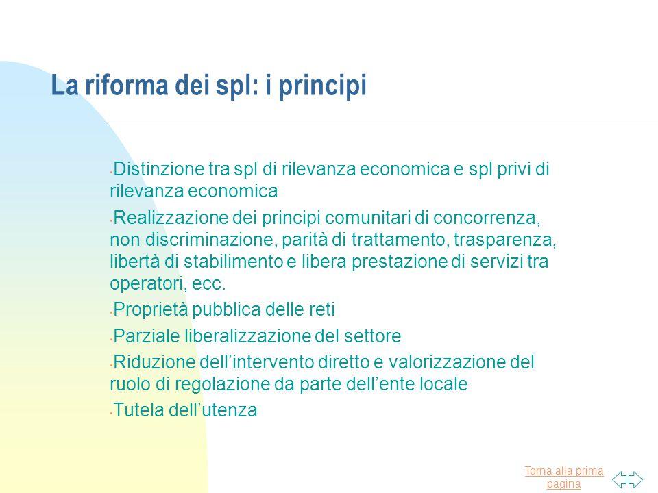 La riforma dei spl: i principi
