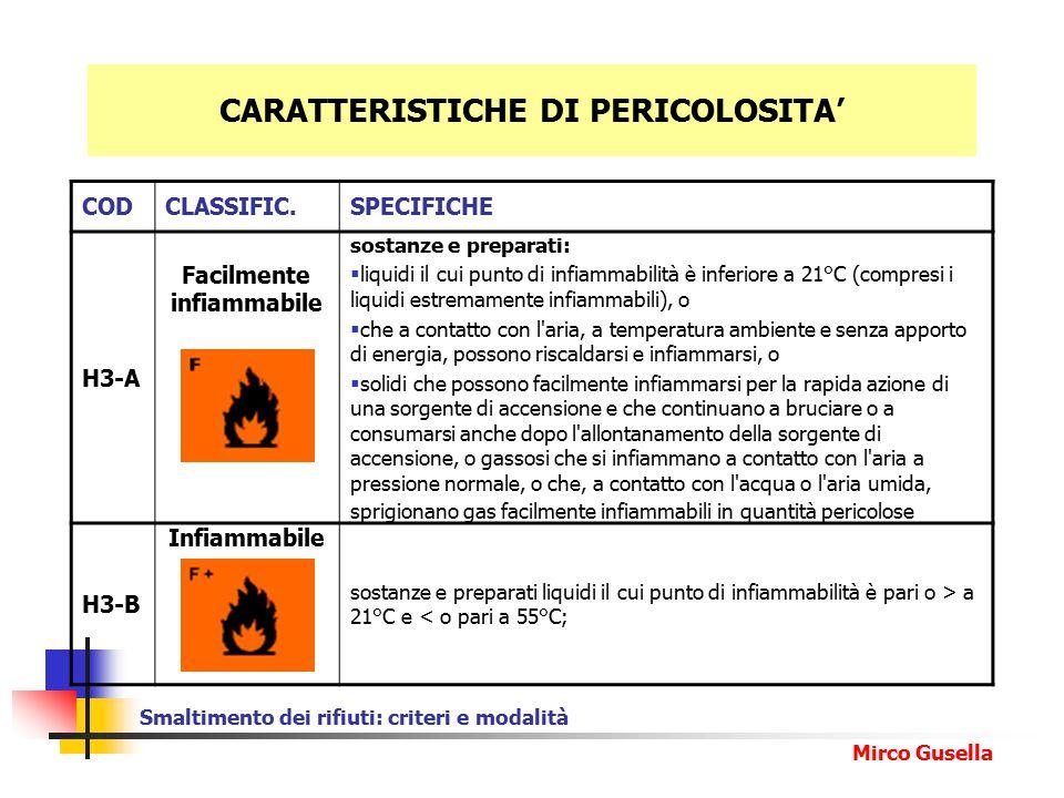 CARATTERISTICHE DI PERICOLOSITA'