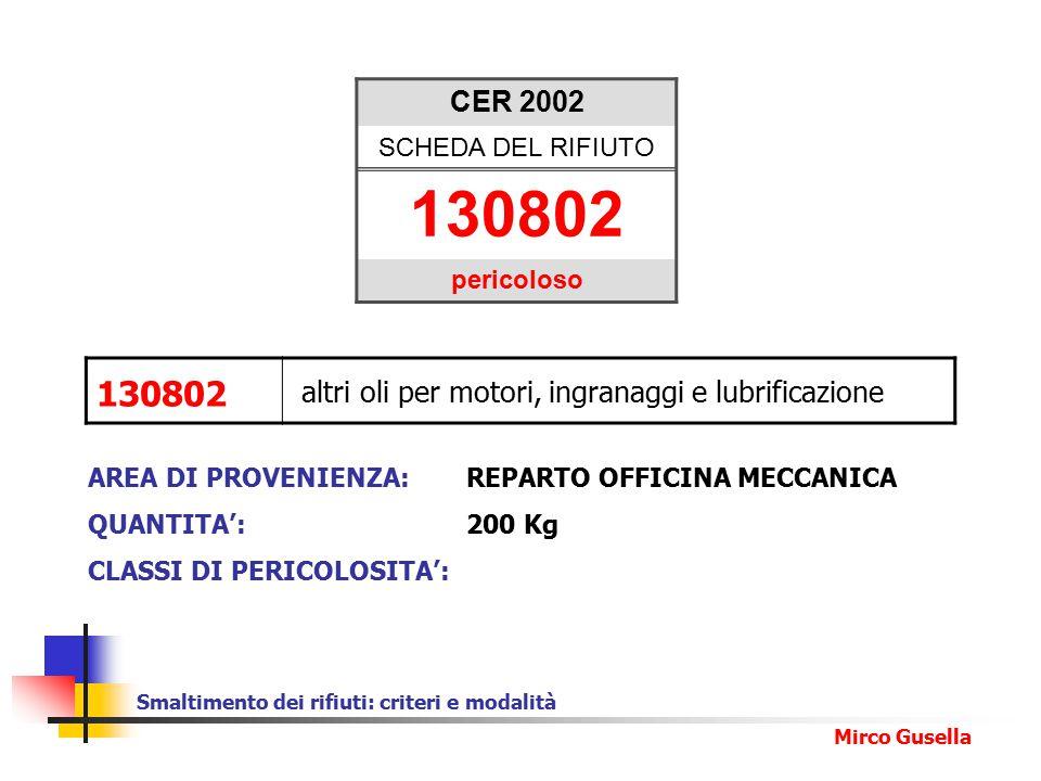 CER 2002 SCHEDA DEL RIFIUTO. 130802. pericoloso. 130802. altri oli per motori, ingranaggi e lubrificazione.