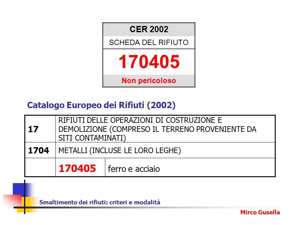CER 2002 SCHEDA DEL RIFIUTO. 170405. Non pericoloso. Catalogo Europeo dei Rifiuti (2002) 17.