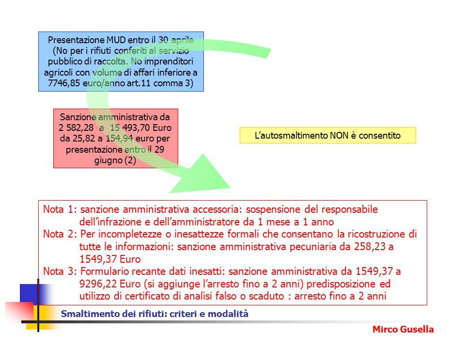 Presentazione MUD entro il 30 aprile (No per i rifiuti conferiti al servizio pubblico di raccolta. No imprenditori agricoli con volume di affari inferiore a 7746,85 euro/anno art.11 comma 3)