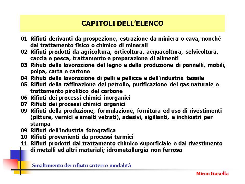 CAPITOLI DELL'ELENCO 01 Rifiuti derivanti da prospezione, estrazione da miniera o cava, nonché dal trattamento fisico o chimico di minerali.