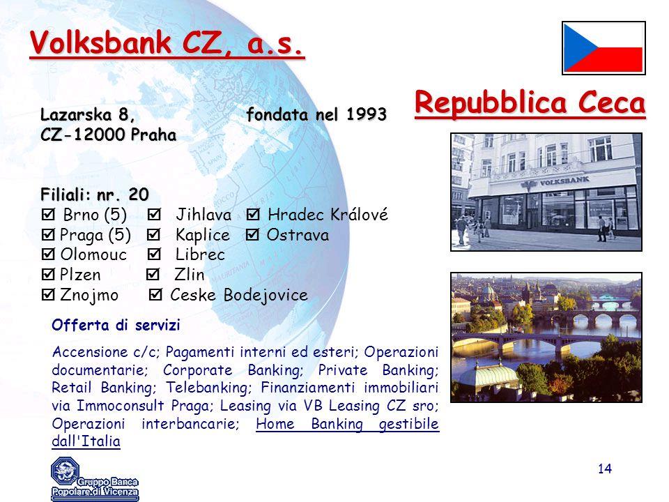 Volksbank CZ, a.s. Repubblica Ceca Lazarska 8, fondata nel 1993