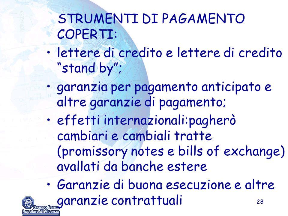 STRUMENTI DI PAGAMENTO COPERTI: