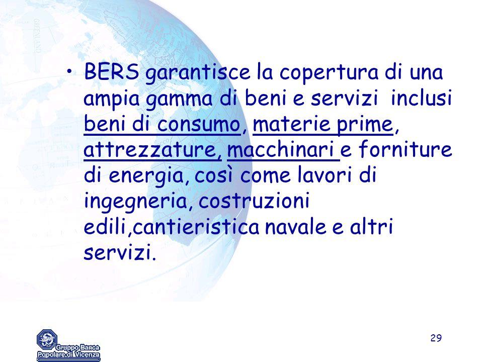 BERS garantisce la copertura di una ampia gamma di beni e servizi inclusi beni di consumo, materie prime, attrezzature, macchinari e forniture di energia, così come lavori di ingegneria, costruzioni edili,cantieristica navale e altri servizi.