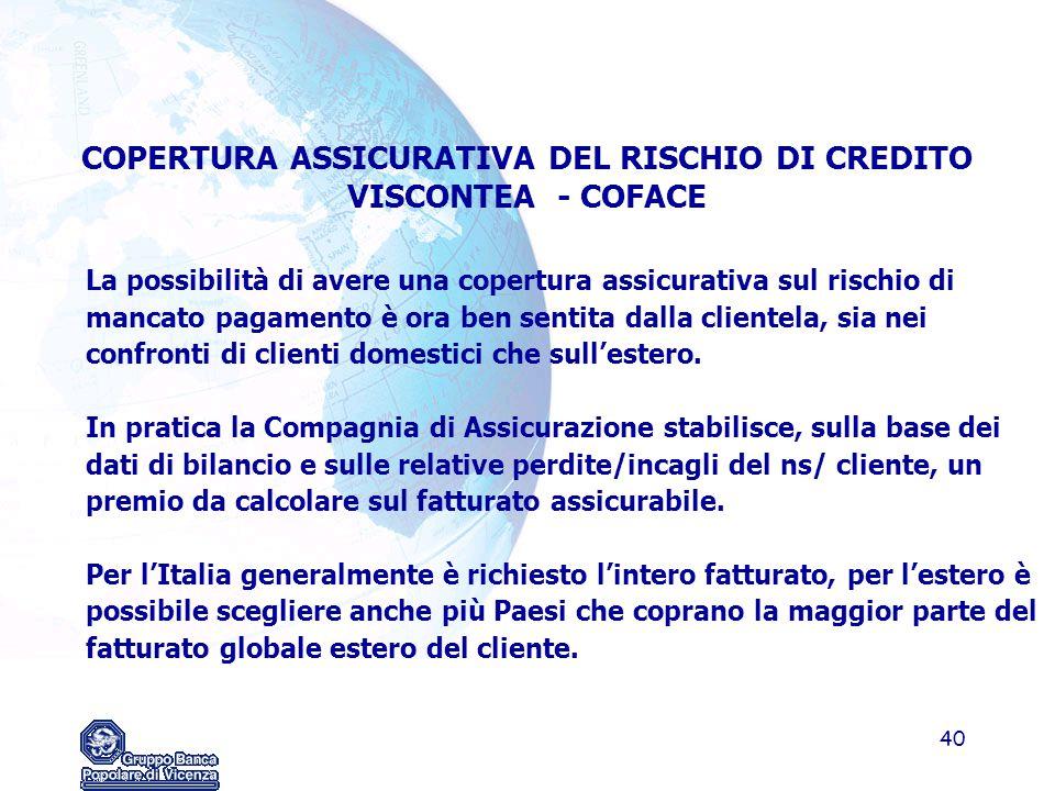 COPERTURA ASSICURATIVA DEL RISCHIO DI CREDITO