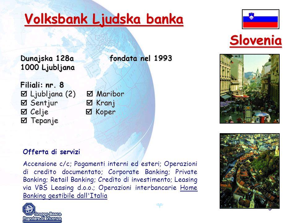 Slovenia Volksbank Ljudska banka Dunajska 128a fondata nel 1993