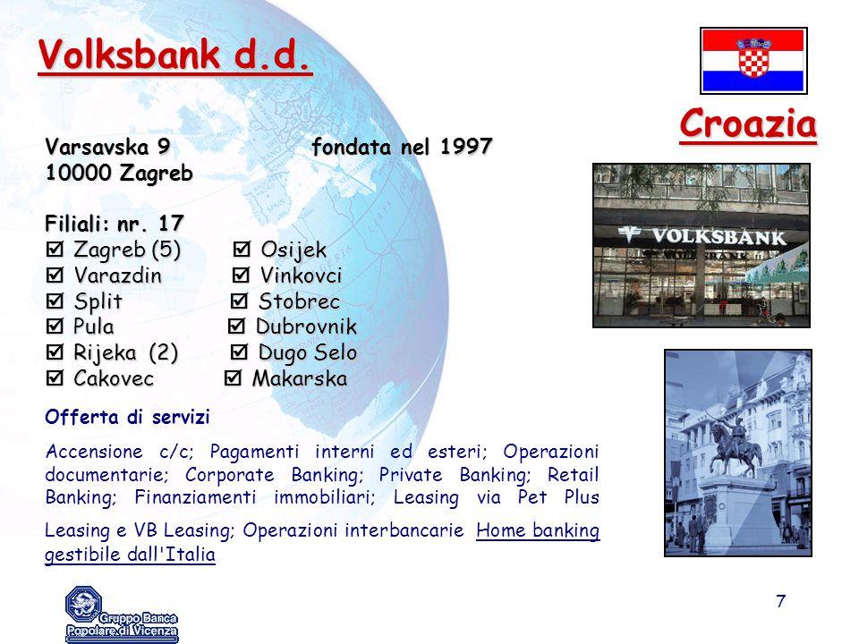Volksbank d.d. Croazia Varsavska 9 fondata nel 1997 10000 Zagreb