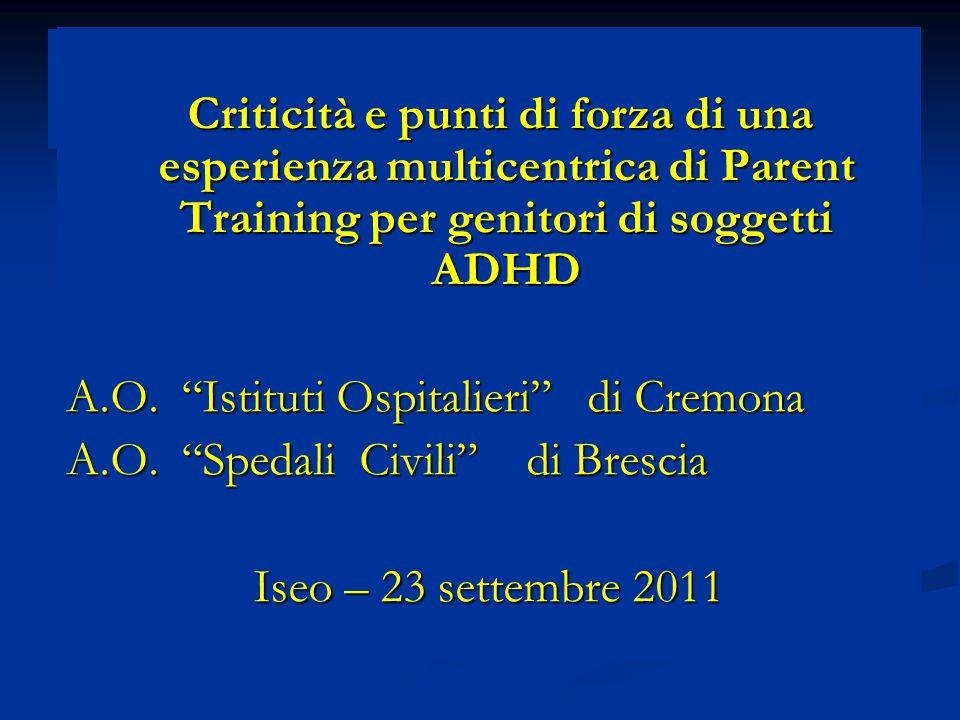 Criticità e punti di forza di una esperienza multicentrica di Parent Training per genitori di soggetti ADHD