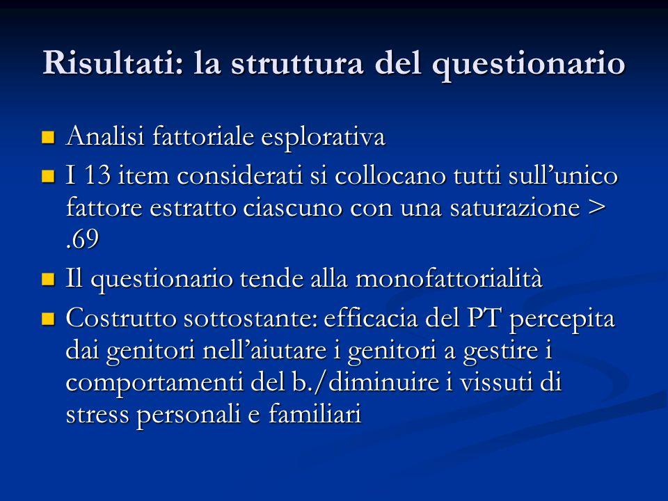 Risultati: la struttura del questionario