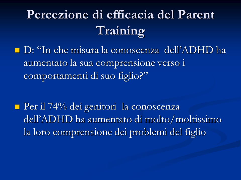 Percezione di efficacia del Parent Training