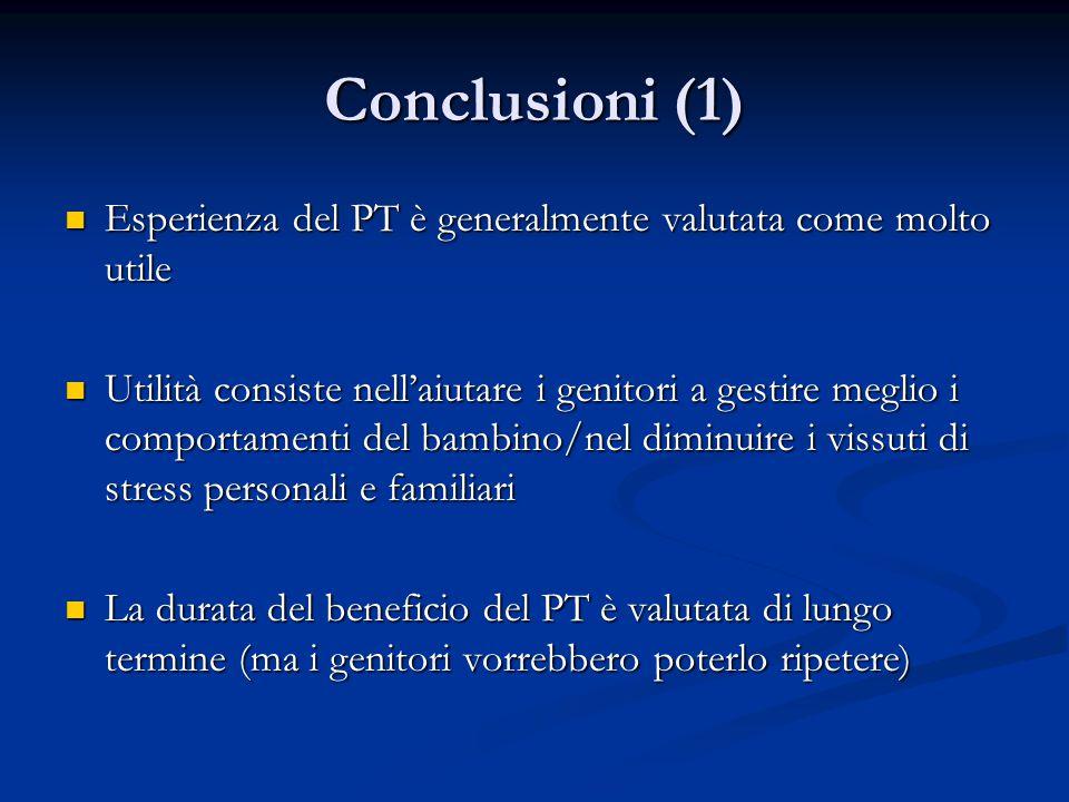 Conclusioni (1) Esperienza del PT è generalmente valutata come molto utile.