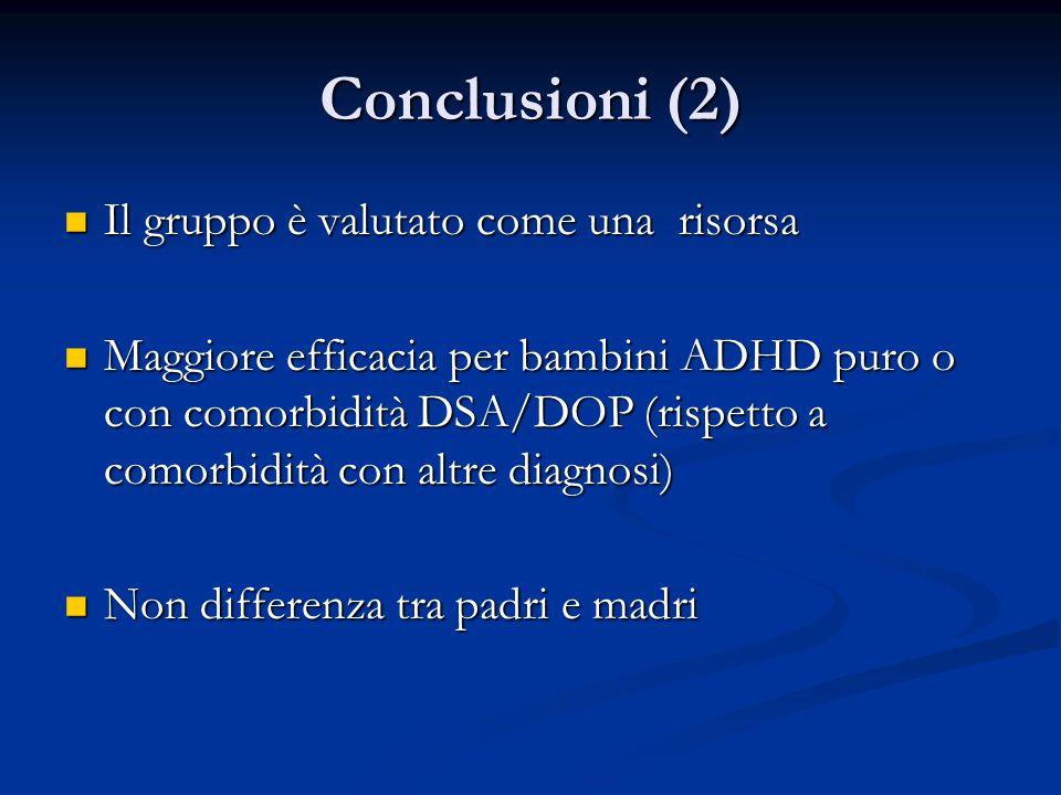Conclusioni (2) Il gruppo è valutato come una risorsa