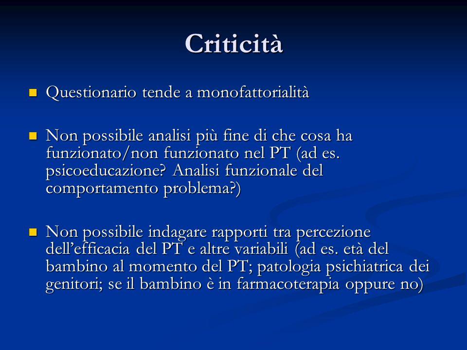 Criticità Questionario tende a monofattorialità