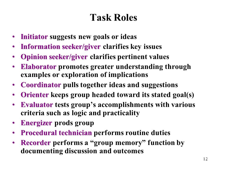 Task Roles Initiator suggests new goals or ideas