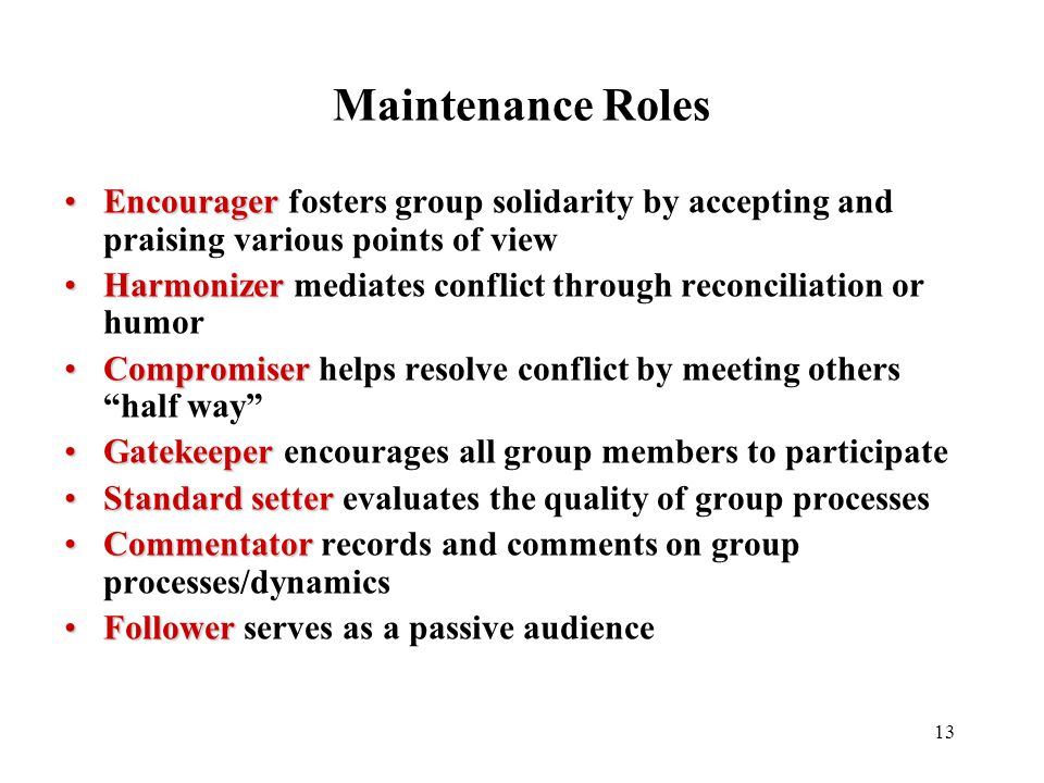 Maintenance Roles Encourager fosters group solidarity by accepting and praising various points of view.