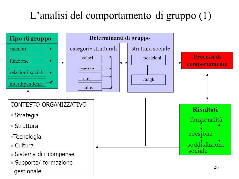 L'analisi del comportamento di gruppo (1)