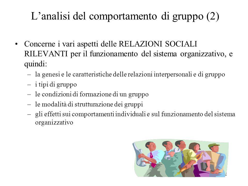 L'analisi del comportamento di gruppo (2)