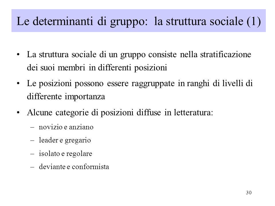 Le determinanti di gruppo: la struttura sociale (1)