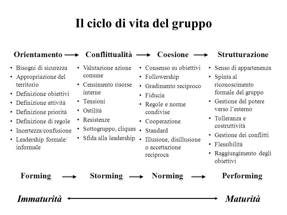 Il ciclo di vita del gruppo