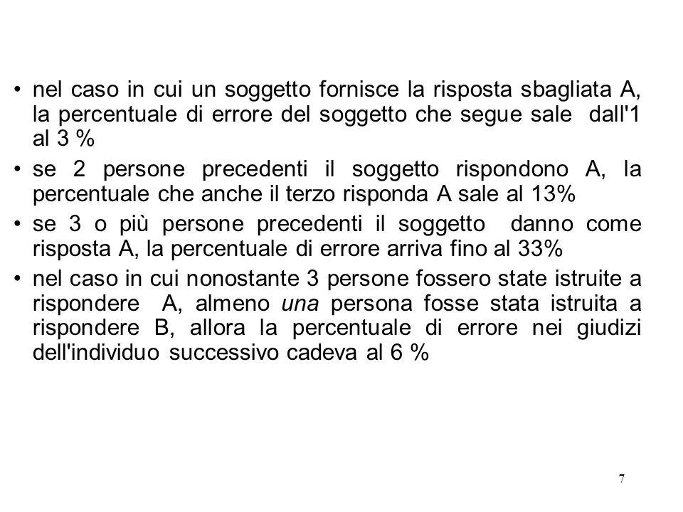nel caso in cui un soggetto fornisce la risposta sbagliata A, la percentuale di errore del soggetto che segue sale dall 1 al 3 %