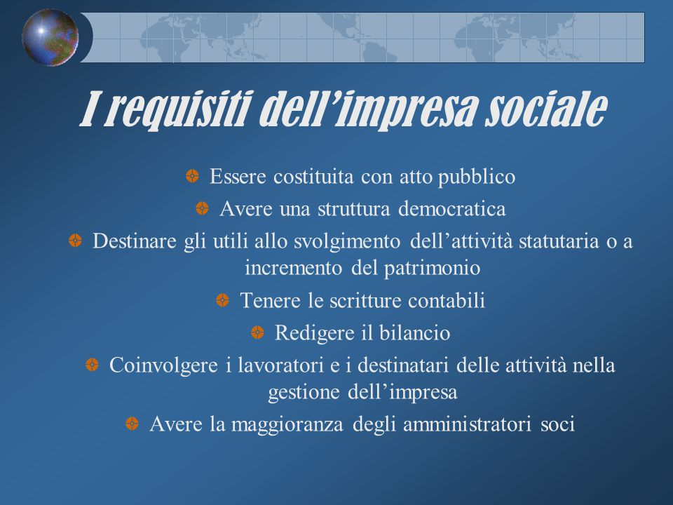 I requisiti dell'impresa sociale