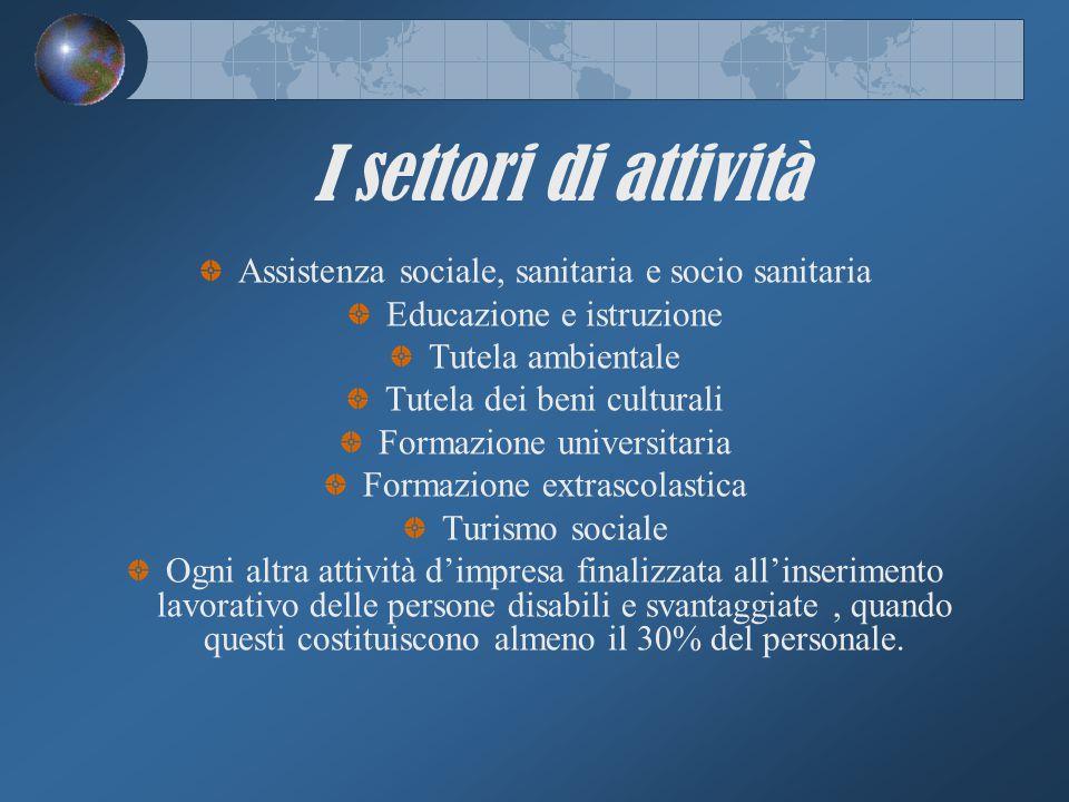 I settori di attività Assistenza sociale, sanitaria e socio sanitaria