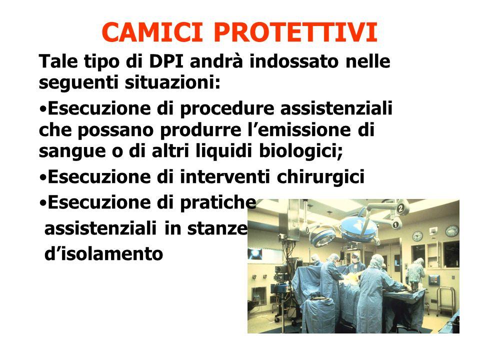 CAMICI PROTETTIVI Tale tipo di DPI andrà indossato nelle seguenti situazioni: