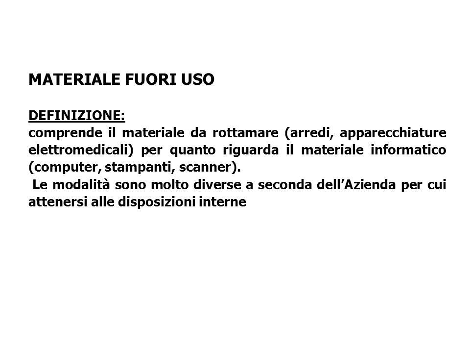 MATERIALE FUORI USO DEFINIZIONE: