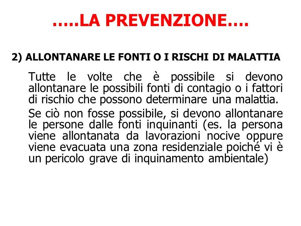 …..LA PREVENZIONE…. 2) ALLONTANARE LE FONTI O I RISCHI DI MALATTIA.