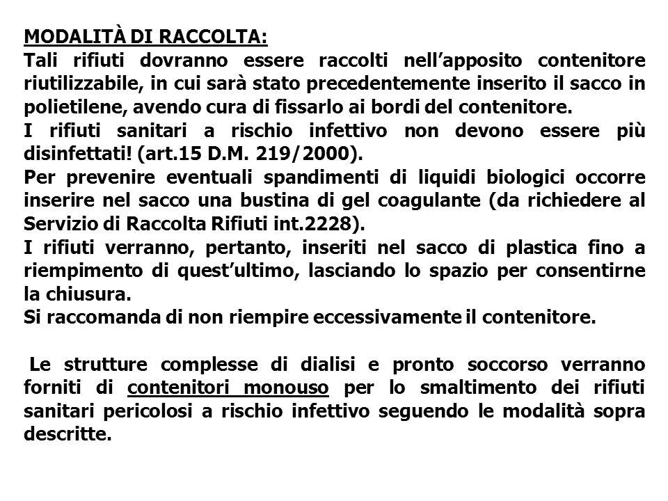 MODALITÀ DI RACCOLTA: