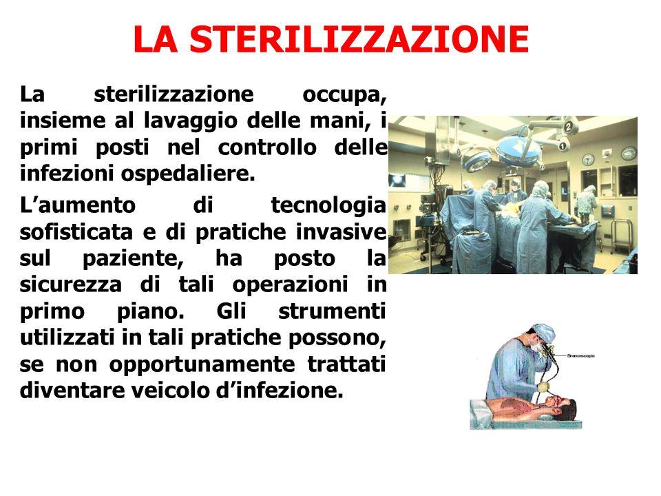LA STERILIZZAZIONE La sterilizzazione occupa, insieme al lavaggio delle mani, i primi posti nel controllo delle infezioni ospedaliere.