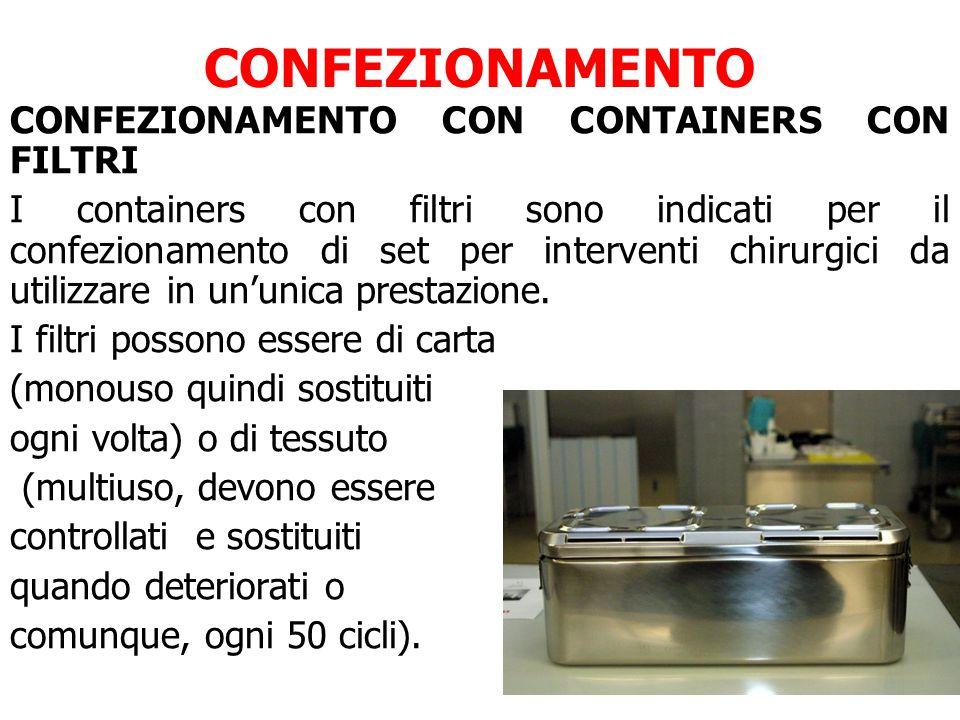CONFEZIONAMENTO CONFEZIONAMENTO CON CONTAINERS CON FILTRI