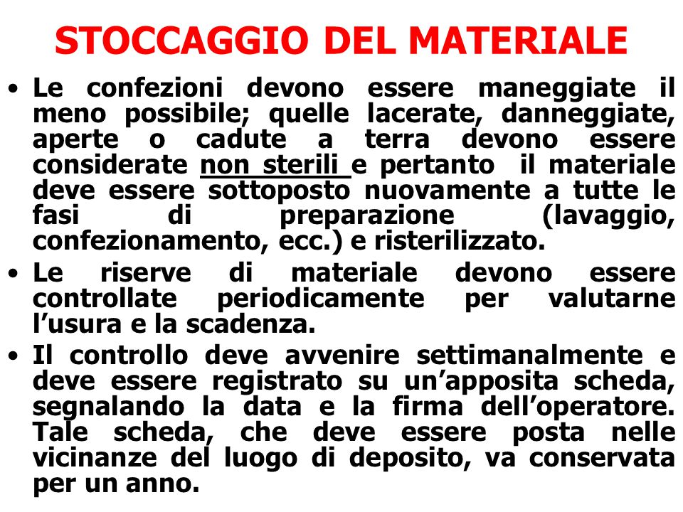 STOCCAGGIO DEL MATERIALE