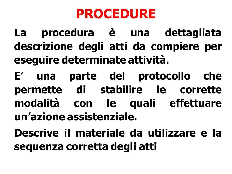 PROCEDURE La procedura è una dettagliata descrizione degli atti da compiere per eseguire determinate attività.