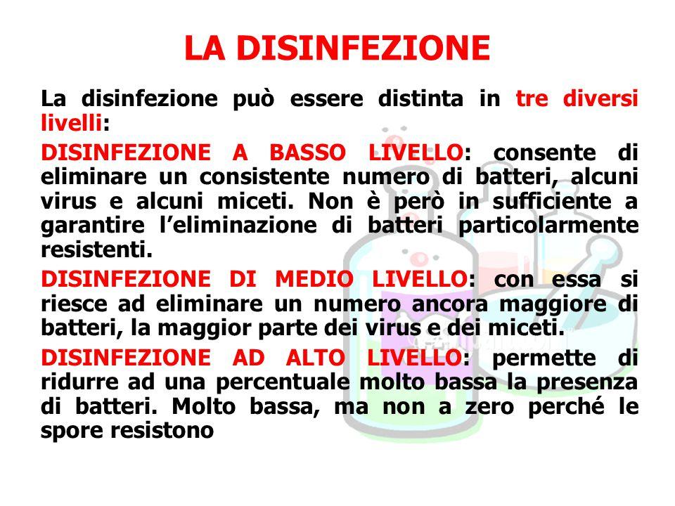 LA DISINFEZIONE La disinfezione può essere distinta in tre diversi livelli: