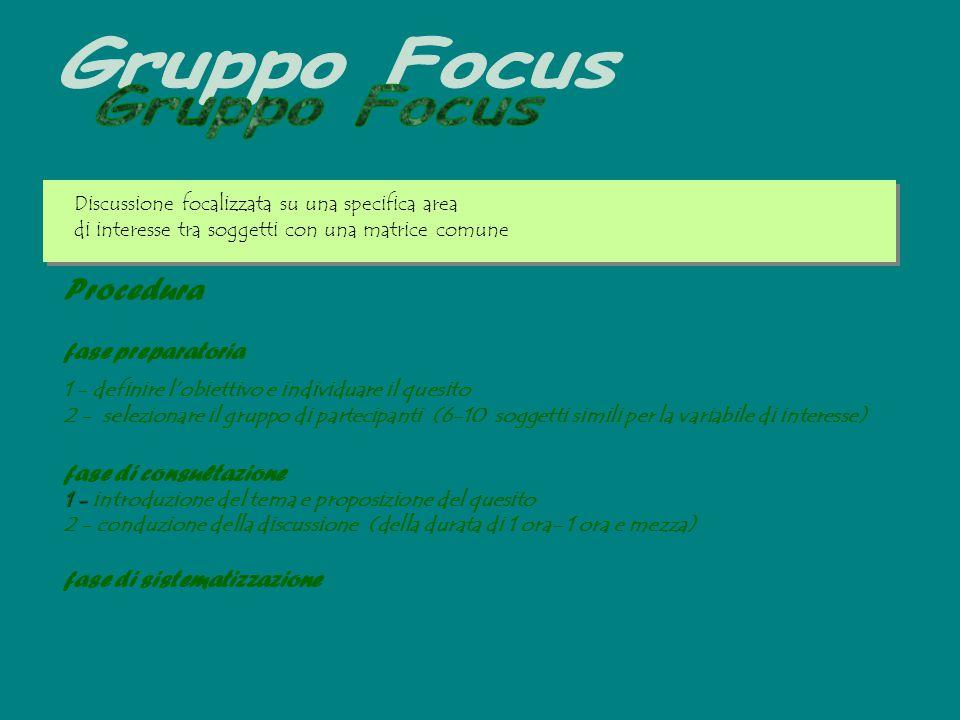 Gruppo Focus Procedura fase preparatoria fase di consultazione